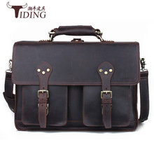 лучшая цена Men Crazy Horse Genuine Leather Briefcase Handbags Leather 17