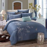 Luxury Embroidery Bedding Set White Duvet Cover Elegant Fabric Bed Sheet Bedspread Coverlets Plant Bamboo Flower