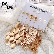 6 Pairs/Sets Vintage Gold Color Leaves Long Tassel Simulated Pearl Stud Earrings Set For Women New Brincos Jewelry 2019