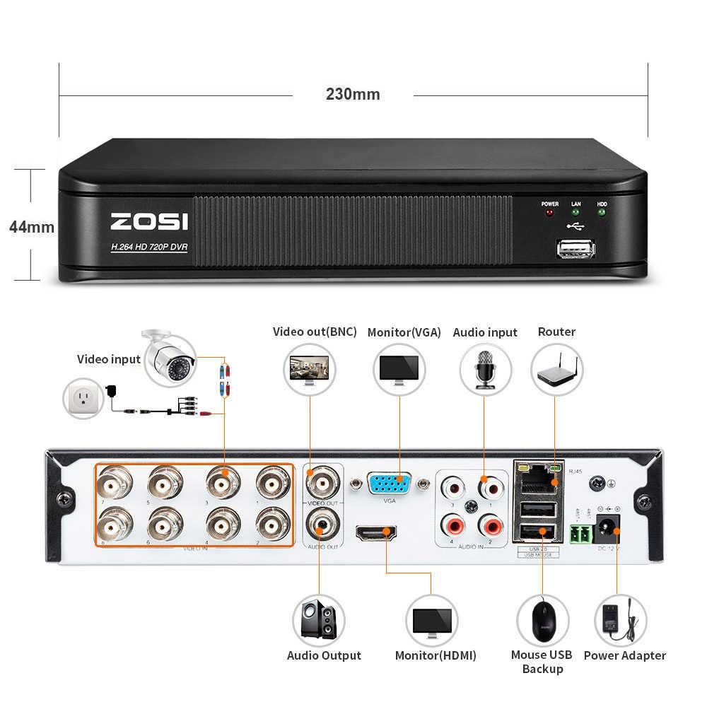 ZOSI 8CH безопасности Камера Системы HD-TVI 720 P цифровой видеомагнитофон с 4x HD 1280TVL 720 P Крытый Открытый всепогодный CCTV Камера s