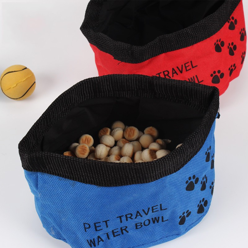 Portable Dog Pet Travel Collapsible Food Water Bowls Pets: Pet Travel Food Bowl Bags Dog Cat Waterproof Cloth Folding