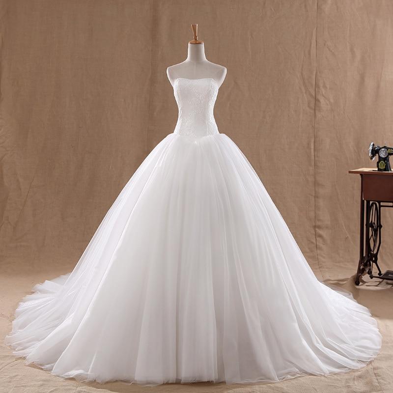 LAMYA свадебное платье со шлейфом дешевые знаменитостей без бретелек Винтаж Тюль Свадебное бальное платье органза кружева свадебные платья
