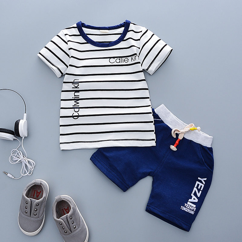 2018 Summer Baby boys Clothes girl Infant Clothing letter striped T-shirt + Shorts Outfits Kids Bebes Jogging Suit Tracksuit