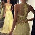 Vestidos de Festa Até O Chão Longa Noite Vestidos Alta Neck Beading Lantejoulas Apliques de Renda Sheer Alta Pescoço Vestido de Noite Amarelo