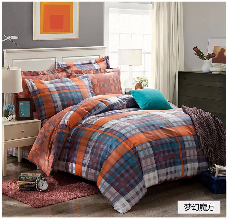 Dreaming Blue Grey Black Orange Plaids Bedding Set Cotton
