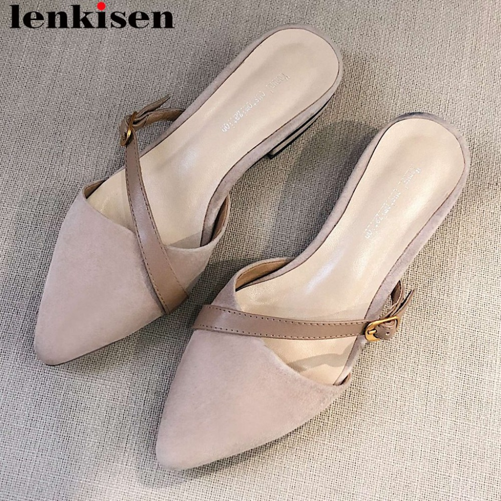 Lenkisen 2019 hot selling full grain leather slip on mules buckle belt oxford pointed toe women pumps square low heels shoes L27Lenkisen 2019 hot selling full grain leather slip on mules buckle belt oxford pointed toe women pumps square low heels shoes L27