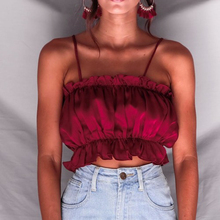 New 2018 Summer Ruffles Elastic Crop Top Camis Women Sexy Satin Strap Short Tops Tees Casual Ladies Beach Tank Cropped Camisole