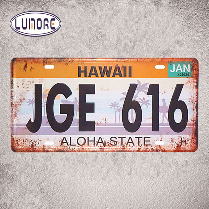 Vintage License Plates Number JGE 616 HAWAII Aloha State Metal Tin sign Art Prints Restaurant Lounge Bar Wall Decor 15*30cm