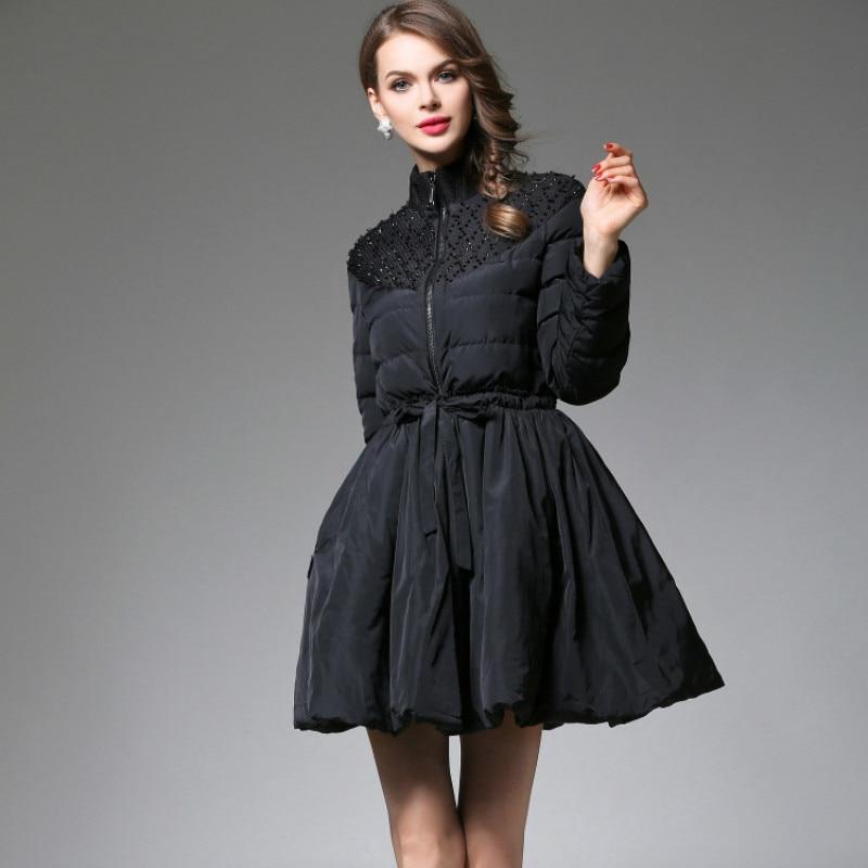 11.11 women upscale new fashion elegant vestidos winter casual black with beading zipper female down parkas skirt jacket T6074