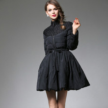 11.11 women upscale new fashion elegant vestidos winter casual black with beading zipper female down parkas skirt jacket T6074