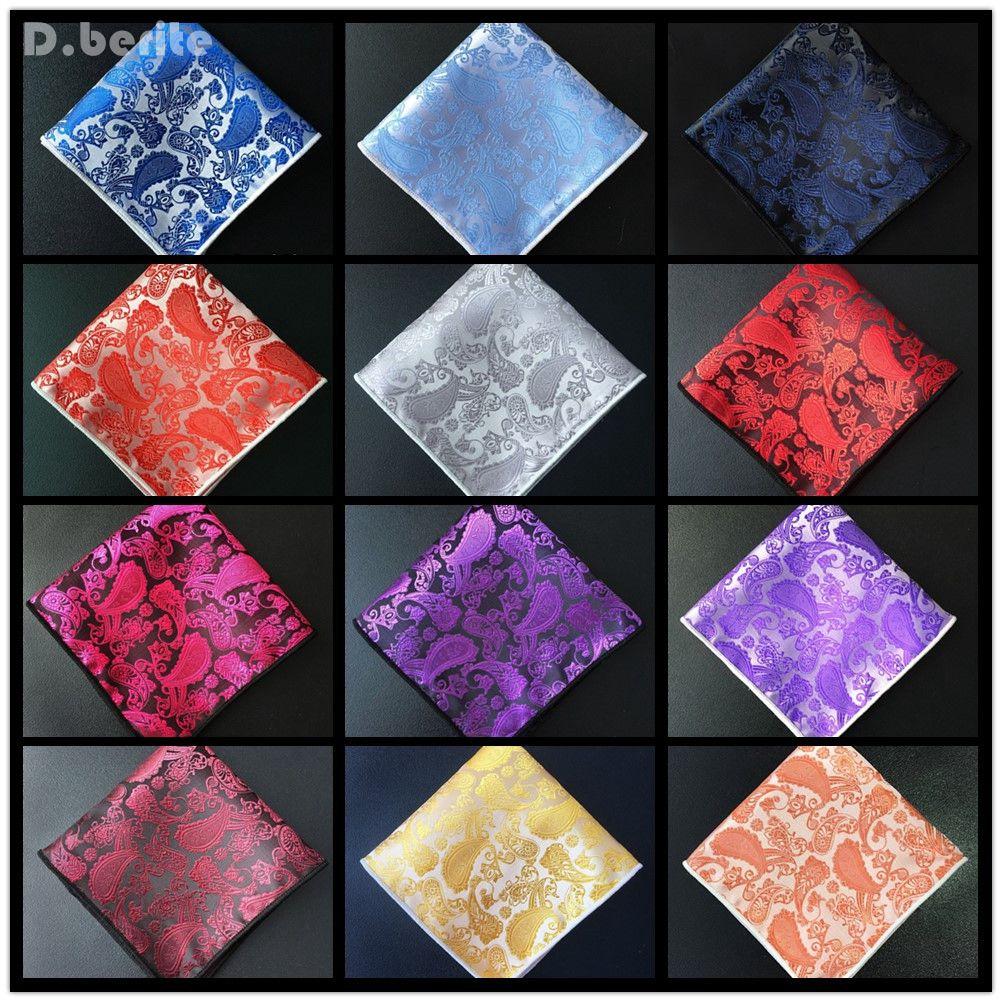 Newest Paisley Floral Men Silk Pocket Square Hanky Wedding Party Handkerchief Fashion CMQ9002