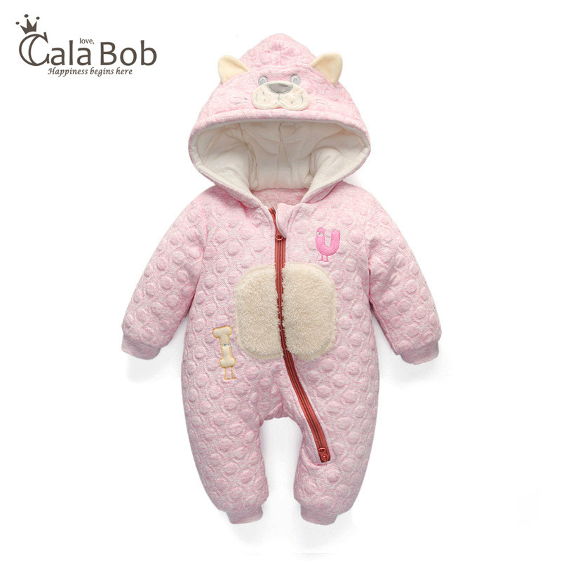 CalaBob Baby Rompers Winter Thick Warm 100%Cotton Long Sleeve Hooded Jumpsuit Baby Boy Girl Clothes Newborn Kids Outwear