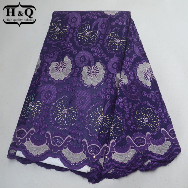 H&Q Orange African Lace Fabric 2018 High Quality Lace Fabric with Bright Color Swiss Voile Lace in Switzerland with Stones