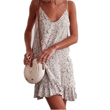 Womens Sexy Fashion Sling Round Neck Dress Printed Halter