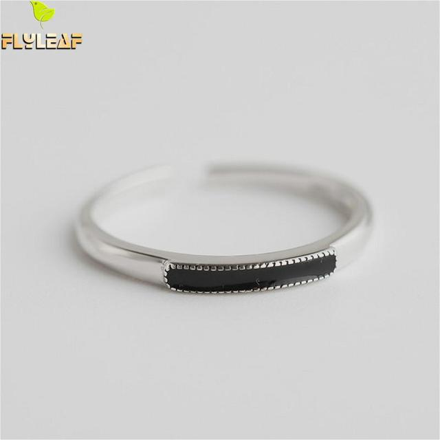 Flyleaf 925 Sterling Silver Rings For Women Rectangular Obsidian Femme Fashion Fine Jewelry Simple Open Ring High Quality