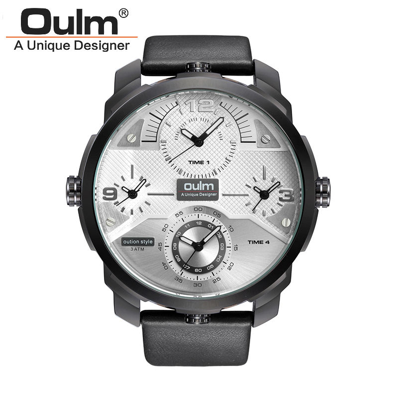 Top Luxury Multi 4 Time Zone Japanese Movement Quartz Watch Military Man Leather Oulm Watches Men Clock Gift relogio masculino top brand luxury oulm 2 time zone men watches military sports quartz watch 2017 men rose golden case relogio masculino box