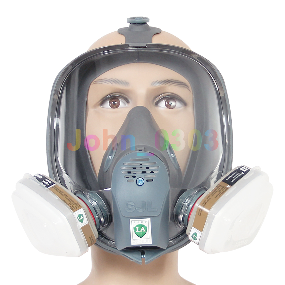 SJL 7 pcs Suit Set 6800 Full Face Gas Mask Facepiece Respirator Spraying Paint new style sjl 6200 suit respirator painting spraying face gas mask with goggles paint glasses