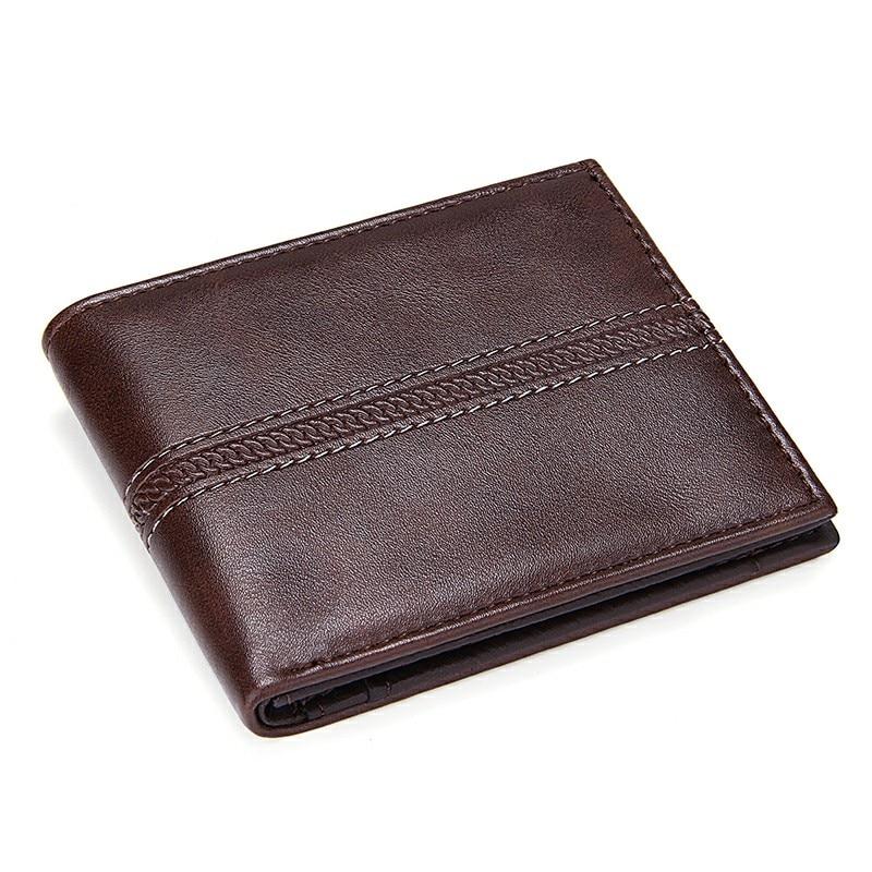 Solid Men's Leather Wallets Business Men Slim Short Wallet Luxury Design 2 Fold Money Bag Coin Pocket Credit Card Holder Male PU