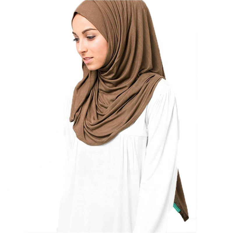 2019 Women Plain Cotton Jersey Scarf Head Hijab Wrap Solid Cover-up Femme Islamic Shawls Oversize Headband Muslim Hijabs Store