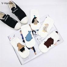 V-Hanver Fashion Cartoon Harajuku Cute Cotton Socks Womens Ankle  Fashionable Fins Penguin Funny Low Women Hosiery