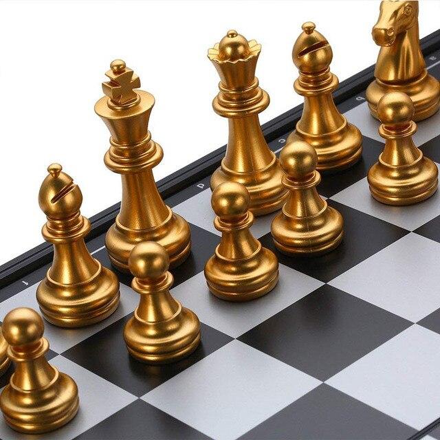 Jeu d'échecs magnétique pliable pour enfants ou adultes, 25x25cm, jeu d'échecs en Or et argent 4