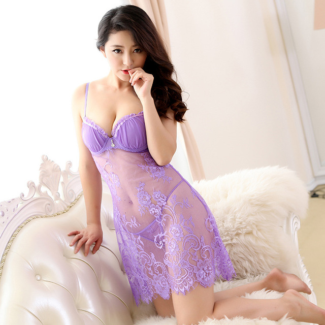 Push Up Bra Lace Nightgown Sleepshirts Sexy Lingerie Women