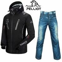 Пелльо зима лыжный костюм для мужчин ватным тампоном теплые Пелльо лыжная куртка + saenshing сноуборд брюки Водонепроницаемый Горные лыжи костю