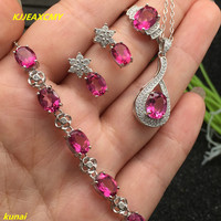 KJJEAXCMY boutique jewels 925 silver inlay natural pink topaz ring pendant earrings bracelet 4 suit jewelry necklace sent sdf