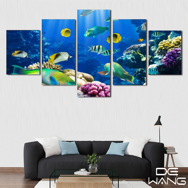 5 Pcs Canvas Animal Print Oil Painting Poster Animal Modern Deep Sea ...