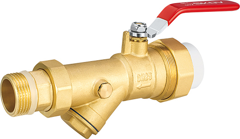 Heating system brass ball valve with y pattern filter in