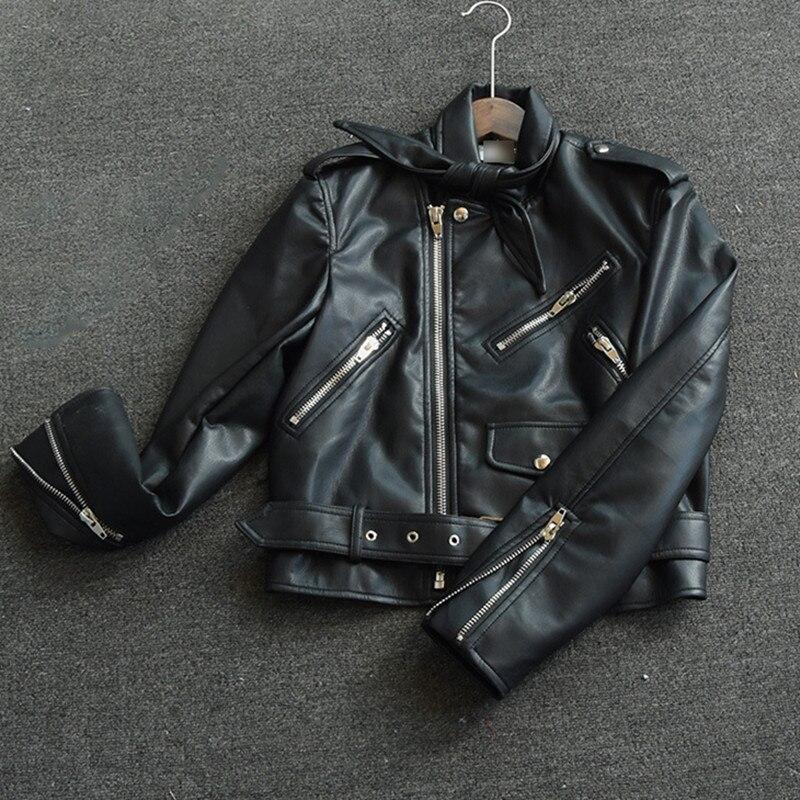 Tops Mode Automne Pu Hiver Cuir Veste Okxgnz1370 Court vent Manteaux Coupe Nouveau Chaleur Femmes De Moto Black En Aw6qyxZg