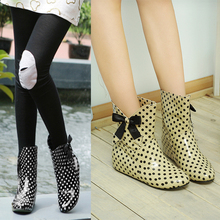 2014 New fashion Wellies Women Polka Dot short Rain Boots inside-heel Hidden Wedges Bow waterproof Ankle Boots big size 34-43