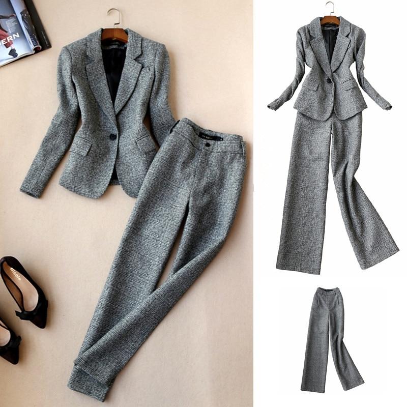 2019 Autumn Women Long Sleeved Woolen Suit Blazer Jacket + Pencil Pants Two Piece office Ladies Professional Pants Suit