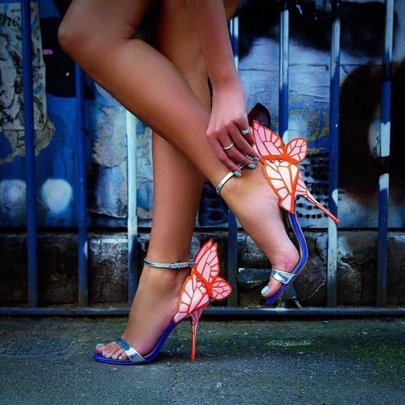 Fashion Gorgeous Colorful Butterfly Stiletto High Heels Sandals Open Toe Sexy Pumps Shoes Angel Wings Summer Woman
