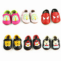 Genuínos mocassins de Couro sapatos cores Misturadas Animal Dos Desenhos Animados Do Bebê Da Criança Do Bebê Macios fundo Primeiros Caminhantes Bebe Sapatos