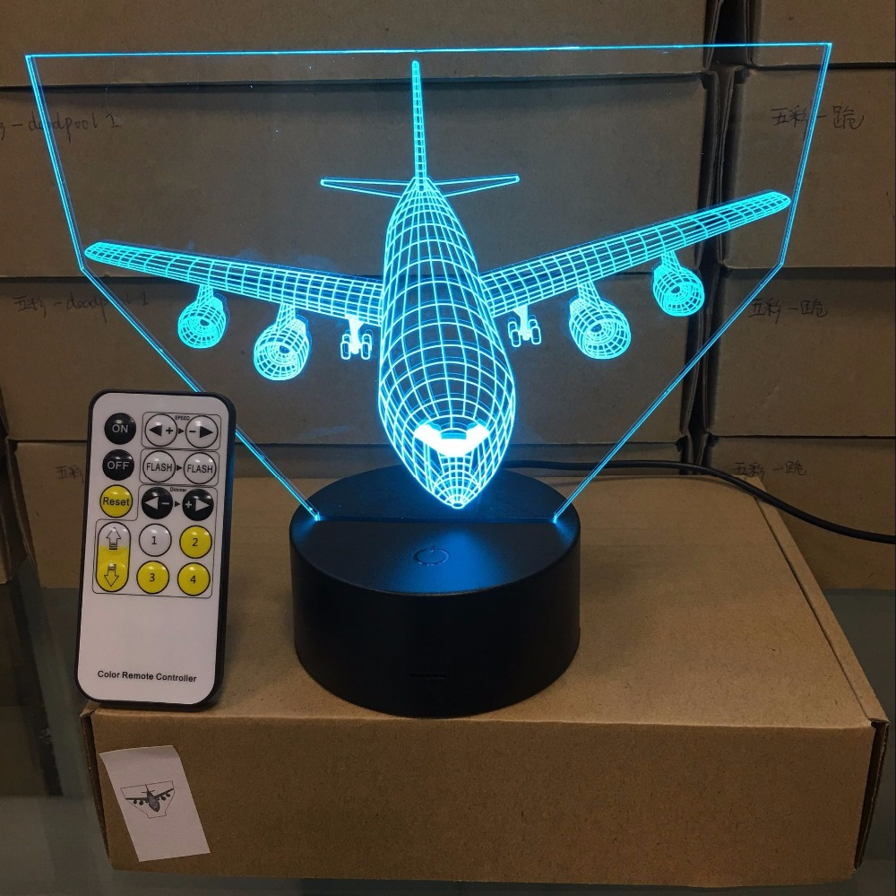 Remote Control Air Plane 3D Light LED Table Lamp Optical Illusion Bulbing Night Light 7 Colors Changing Mood Lamp Touch USB Lamp