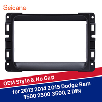 Black 2 Din Panel kit Seicane Car DVD Stereo Fascia for Dodge Ram 1500 2500 3500 Dash Install Radio Frame Player Plate OEM style
