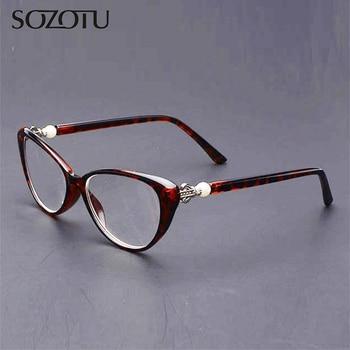 SOZOTU Cat Eye Reading Glasses Women Anti-Fatigue Anti-Radiation Diopter Presbyopic Eyeglasses +1.0+1.5+2.0+2.5+3.0+3.5+4 YQ427