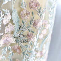 One Yard Fresh colorful fine embroidery lace fabric for wedding gown bridal dress haute couture prom dress making