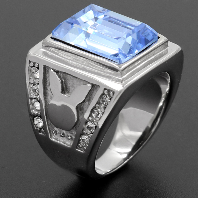 High Quality Jewelry Men Blue Stone Wedding Bands Rings Rhombus