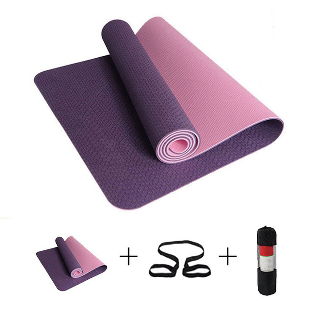 183cm TPE Yoga Mat 6mm No-slip Sports Yoga Mat For Fitness Pilates Gym Colchonete Mat 183*61*0.6cm For Beginners With Yoga Bag