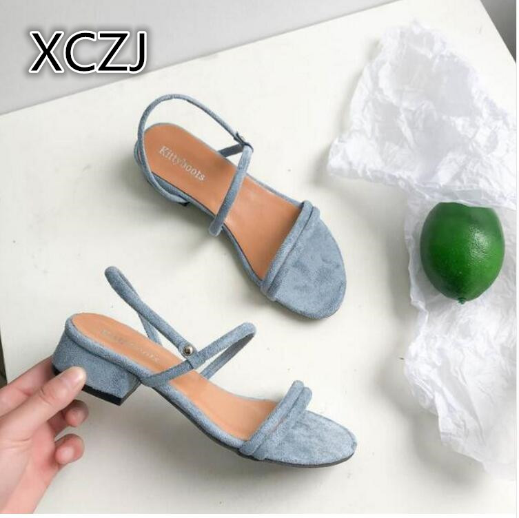 XCZJ Wild blue round low-heeled women's flat sandals Roman sandals women open-toe suede high heels wild dress beach shoes female xczj sandals female 2018 summer new thick with bow tie lattice shoes korean students wild word buckle high heels