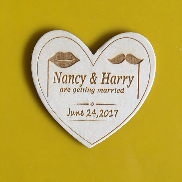 wholesale save the date magnet wood rustic wedding invitations card new year gift favor tags labels