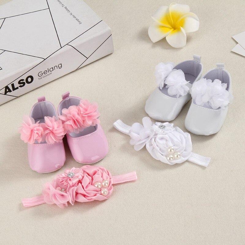 Doop van pasgeboren babyschoenen in september hoofd Van baby kind baby schoenen voor pasgeboren meisje Eerste Walker schoenen PU + hoofdband