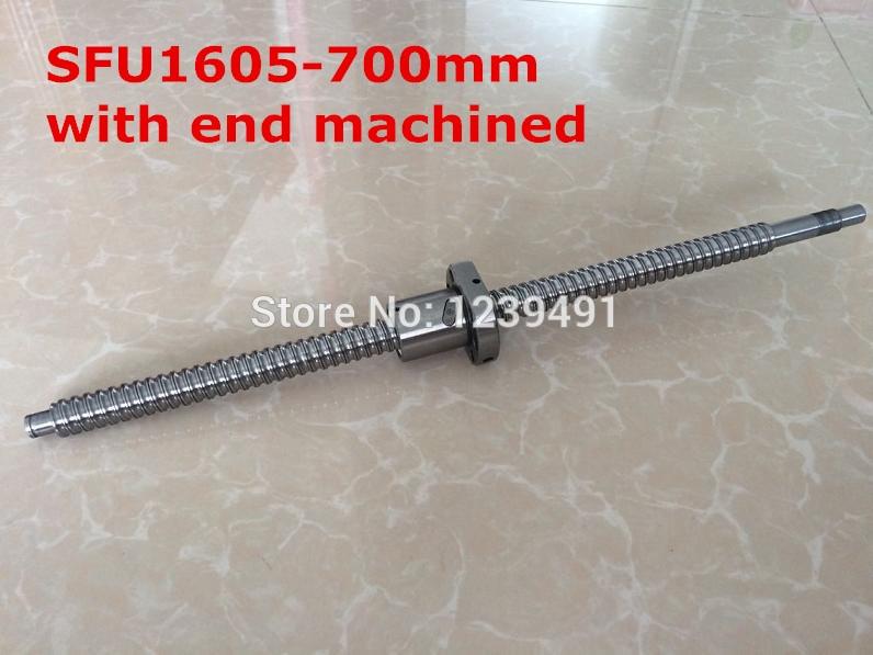 1pcsSFU1605 - 700mm Rolled Ball screw +1pcs ballnut + end machining for BK/BF12 standard processing