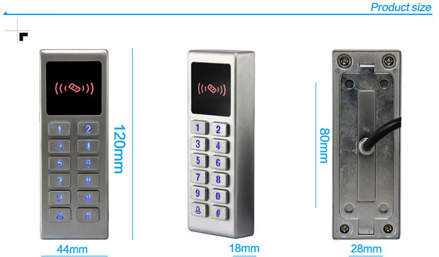 Good quality free shipping 3000 users metal waterproof surface single door access control system led keypad door control reader