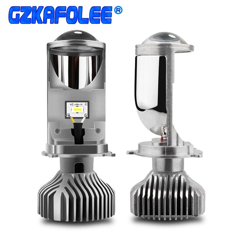 GZKAFOLEE 2pcs mini projector lens headlight H4 LED hi lo for car clear beam pattern 12V