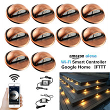 10Pcs/Set Smart WIFI Controller Dimmer Timer Coppering Half Moon 35mm LED Deck Step Stair Fence Lights Low Voltage