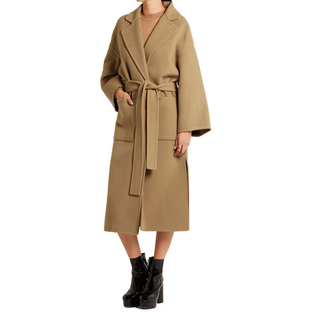 30768793f7 Camel Chic Long Trench Women 2019 Fall Winter Women Simple Classic belt  Female Robe Outerwear manteau femme abrigos mujer