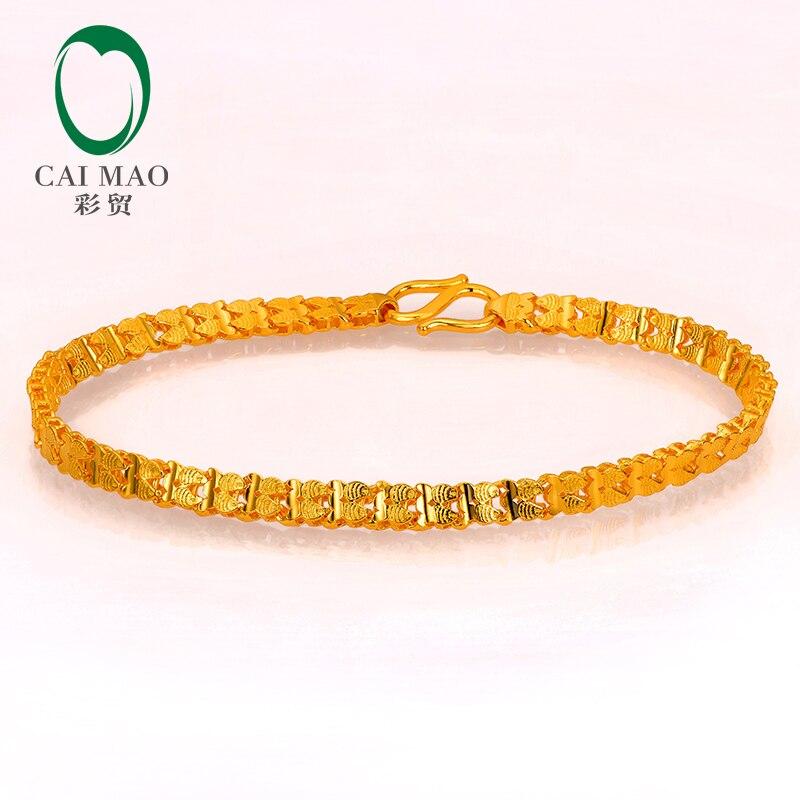 CAIMAO 24 K pur 999 Bracelet en or véritable Boutique Fine mariage cadeau de fiançailles à la mode classique fête